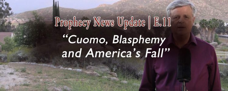 "Image Tom Gilbreath with Mountains Background with Title ""Cuomo, Blasphemy, and America's Fall"""