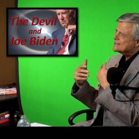 Image of Tom Gilbreath on set in front of green screen with set light and inset of image of Joe Biden with words: