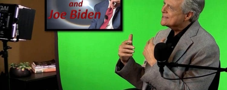 """Image of Tom Gilbreath on set in front of green screen with set light and inset of image of Joe Biden with words: """"The Devil and Joe Biden"""""""