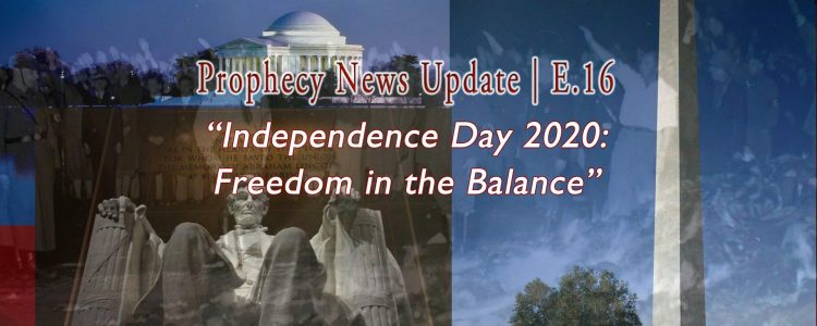Independence Day 2020: Freedom in the Balance | E.16 7-02-2020 text over washing memorials with bookburning black and white photo bleeding through