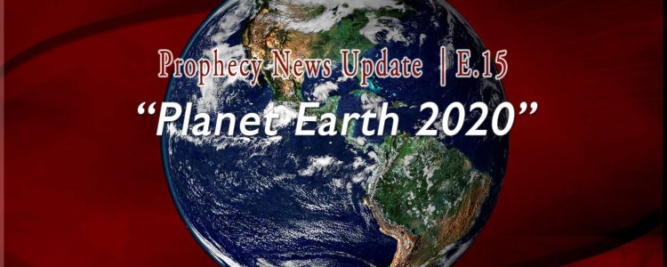 Color earth graphic on rich red background with words, Planet Earth 2020