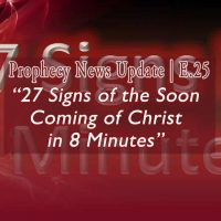 Deep Red with Gold lettering 27 Signs of the Soon Comoing of Christ in 8 Minutes for E25
