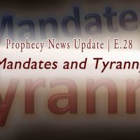 Graphic in dark and light gradient with words: Mandates and Tyranny E28