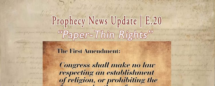 """Faded Constitution Image with 1st Amendement overlaid with """"Paper-Thin Rights E.20"""