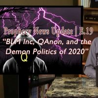 Photo of Tom Gilbreath at desk with Screen with dark, hooded figure and purple lightning in background with text: BLMN, Inc, QAnon, and the Demon Politics of 2020 Episode 19